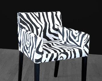 IKEA NILS Chair Slip Cover, Zebra Black White, Animal Print