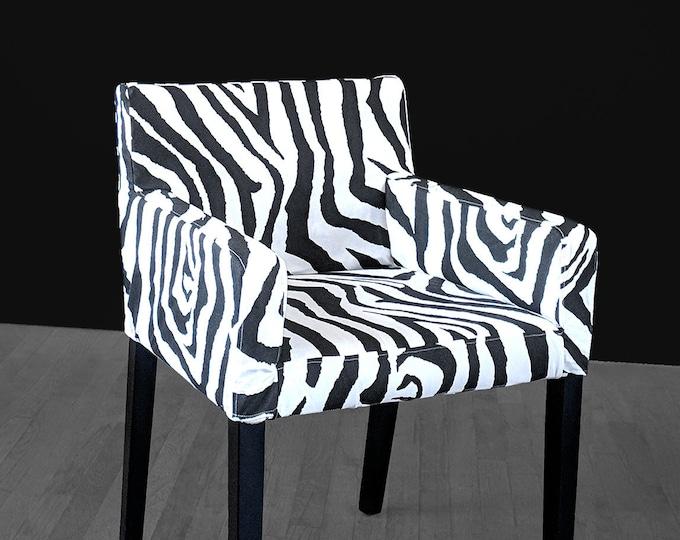 Animal Print IKEA NILS Chair Slip Cover, Custom Chair Prints, Zebra Black White
