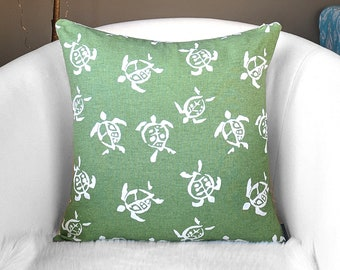 Green Sea Turtle Print, Baby Nursery Pillow Cover
