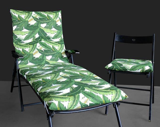 Jungle Print IKEA OUTDOOR Slip Cover, Multiple Prints Outdoor Covers, Chaise Pad Cover, Chair Pad Cover