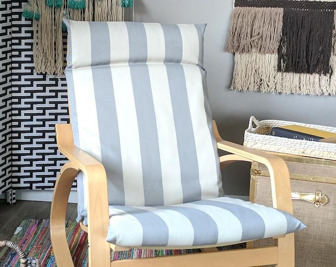Gray Beige Cabana Stripe IKEA POÄNG Cushion Slipcover