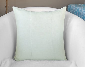 Linen Sage Green Patchwork Pillow Cover