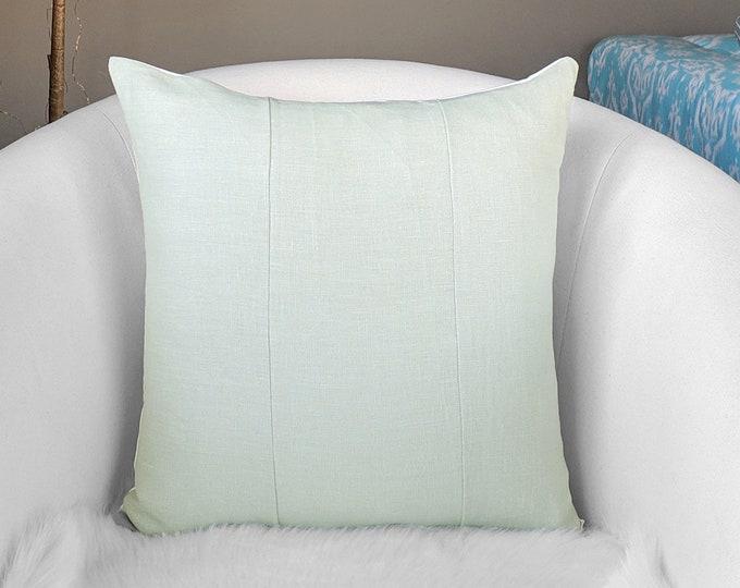 Linen Sage Green Patchwork Pillow Cover