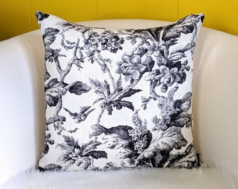 Farmhouse French Floral Black Pillow Cover
