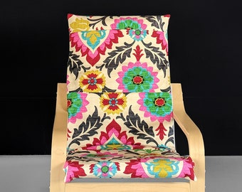 Flower Design Kids Ikea Poang Chair Cover, Patchwork Style
