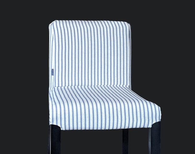 SAMPLE PAIR of Blue Ticking Stripe, Custom Henriksdal Chair Covers, Ikea Seat Covers