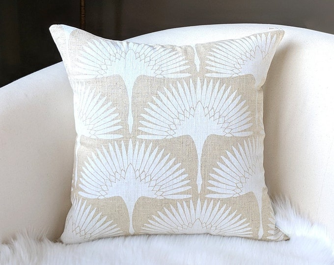 White Fan Natural Beige Pillow Cover