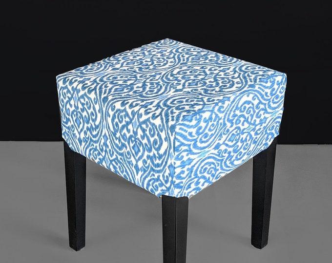 Indigo Blue Indian Damask Print IKEA Seat Cover