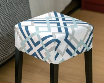 IKEA Stool Seat Cover, Geometric Gray Navy Blue Print