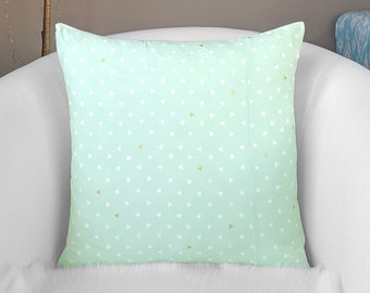 Mint Green, Metallic Gold Triangles, Arizona Pillow Cover