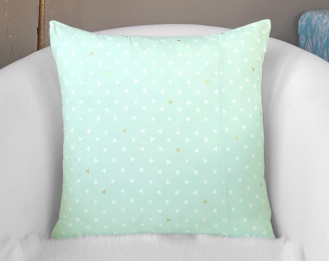Mint Green, Metallic Gold Triangles, Arizona Pillow Cover