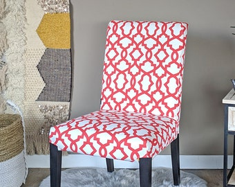 SAMPLE SALE - Red White Trellis Pattern Ikea HENRIKSDAL Dining Chair Cover