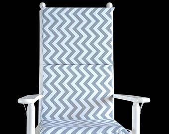 Adults Gray Chevron Rocking Chair Cushion, Zig Zag Seat Covers