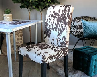Awesome Ikea Dining Chair Cover Brown Cow Print Cow Hide Henriksdal Short Links Chair Design For Home Short Linksinfo