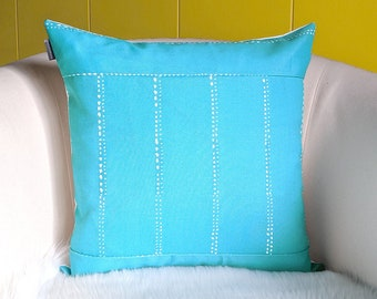 Turquoise Blue Dot Print Pillow Cover