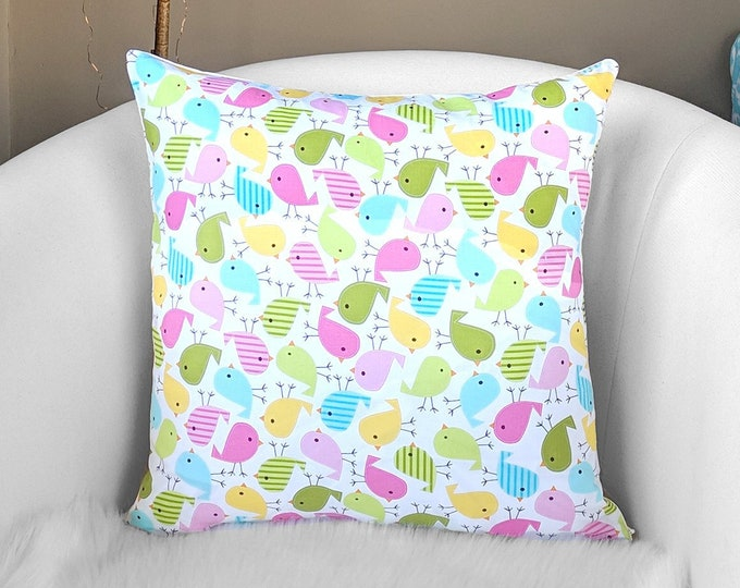 Colorful Birds Toss Pillow Cover