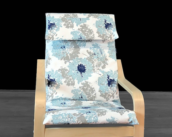 Fairy Floral Blue IKEA KIDS POÄNG Cushion Slipcover