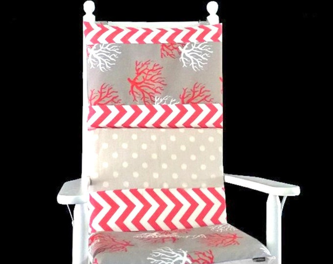 Coral Chevron Multiprint Pattern Rocking Chair Cover