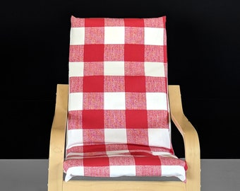 Red Buffalo Check Pattern Ikea Kids Poang Chair Cover