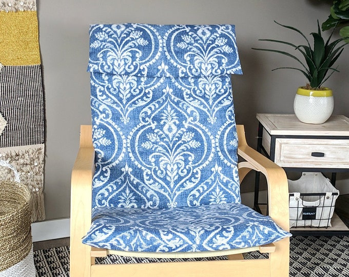 Blue Denim Damask IKEA POÄNG Chair Cover, Floral Ikea Seat Cover