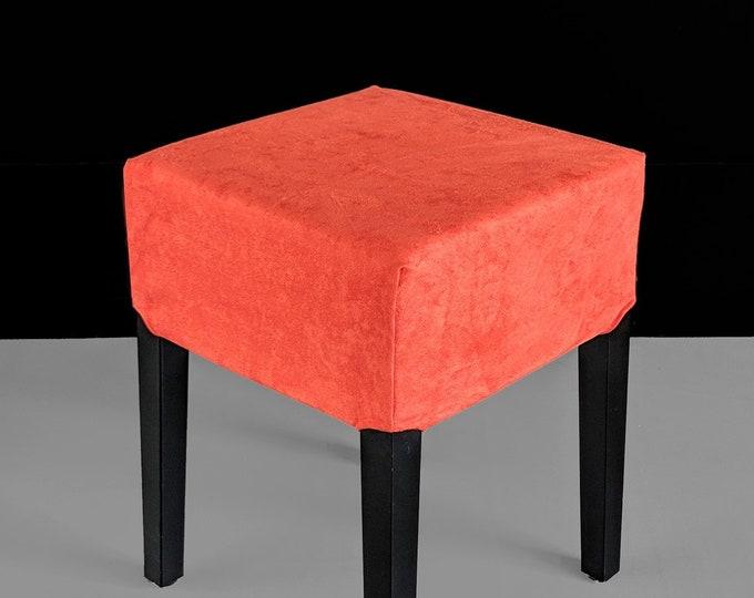 Orange Suede Stool Cover, IKEA Nils