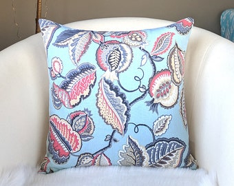 "Light Blue and Pink Garden Print Pillow Cover 18"" x 18"", Ready to Ship"
