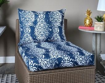 IKEA OUTDOOR Ikat Slip Cover, Ikea Cushion Covers, Custom Ikea Decor, Bespoke Arholma Covers, Navy Blue Indian Print