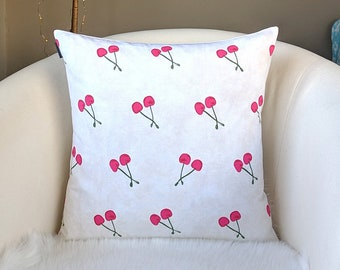 Red Cherries White Pillow Cover