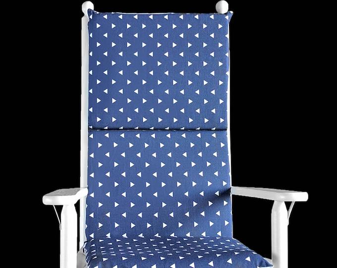 Indigo Blue Triangles Rocking Chair Cushion