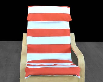 Orange Cabana Stripe Ikea Kids Poang Chair Cover