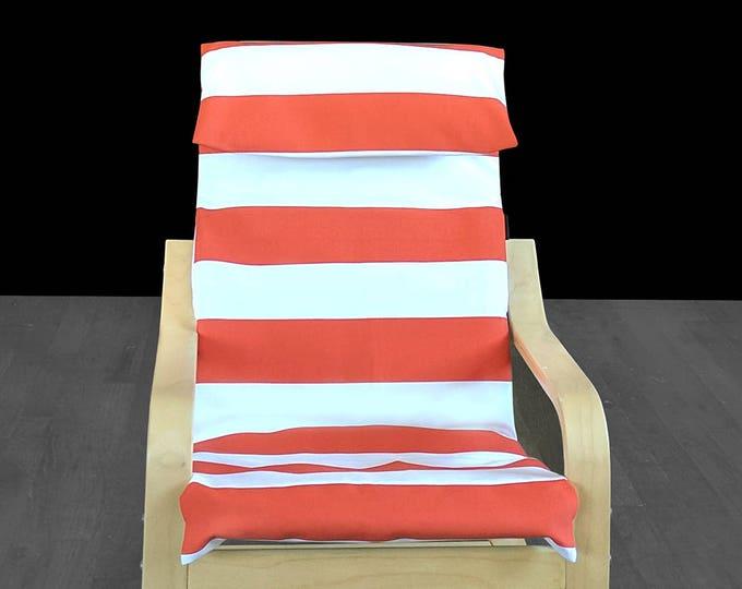Orange Cabana Stripe Ikea Kids Poang Chair Cover