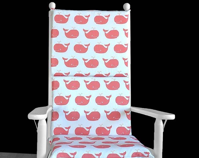 Cute Coral Pink Whale Rocking Chair Cushion