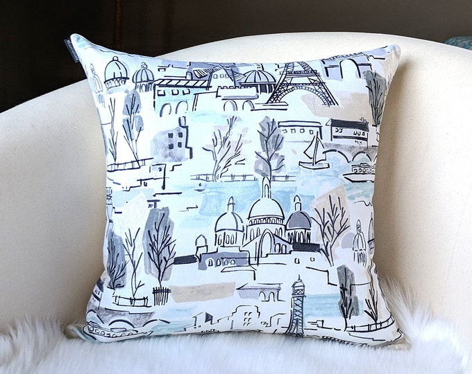 Paris City Pillow Cover, Eiffel Tower, French Illustration, Painting