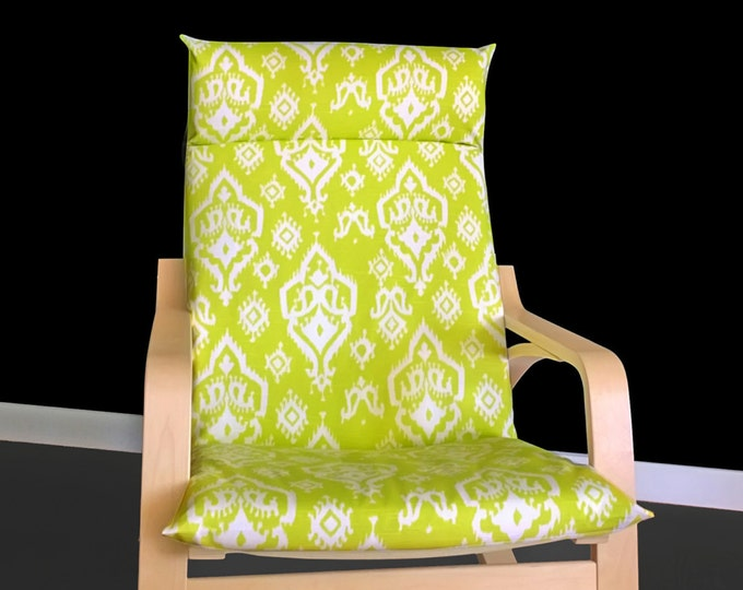 Lime Green Ikea POÄNG Cushion Slipcover, Indian Print Ikea Chair Cover, Ready to Ship