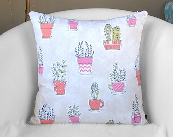 Pink Plants Pillow Cover