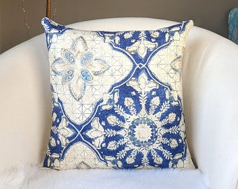 "Blue Floral Pillow Cover, 18"" x 18"""