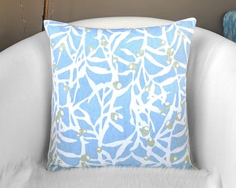 Light Blue Branches Leaves Pillow Cover