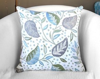 Green, Gray Flower Print Pillow Cover 18""