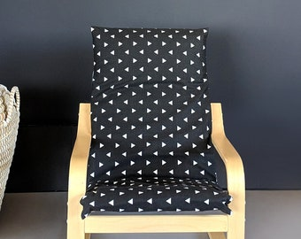 Black White KIDS POÄNG Triangle Cushion Seat Cover