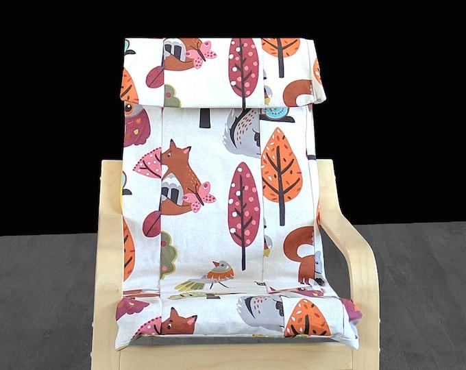 Patchwork Kids Animal Print IKEA POÄNG Cushion Slipcover, Kids Poang Chair Cover