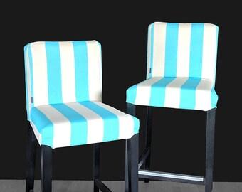 Beach Blue Cabana Stripe IKEA HENRIKSDAL Bar Stool Chair Cover, Summerhouse Henriksdal Cover