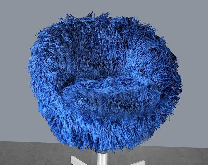 IKEA Navy Blue Shaggy Faux Fur SKRUVSTA Chair Slip Cover