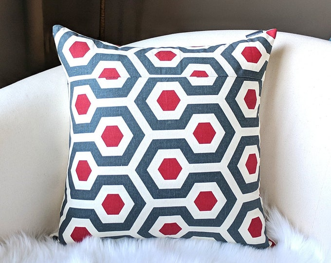 Patchwork Red Honeycomb Pillow Cover