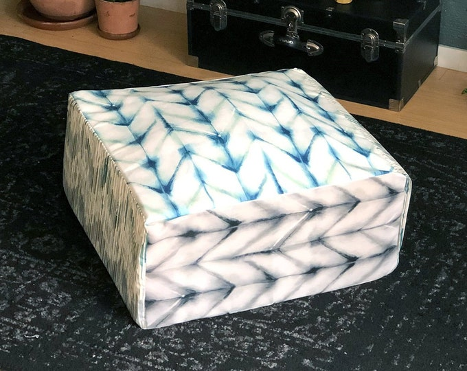 Featured listing image: Chevron Floor Pouf Cover, Ottoman Seat Cover, Shibori