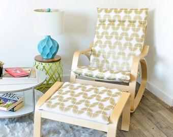 White Metallic Gold IKEA POÄNG Chair Cover