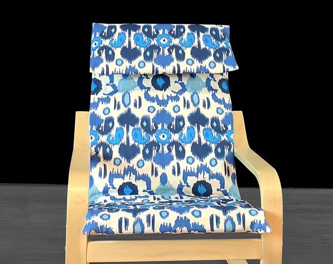 Ikat Floral Blue IKEA KIDS POÄNG Cushion Slipcover