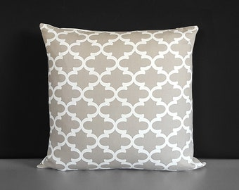Beige Taupe Trellis Pattern, Beige Pillow Cover