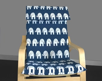 White Elephant IKEA POÄNG Cushion Slipcover, Safari Animals Poang Chair Cover