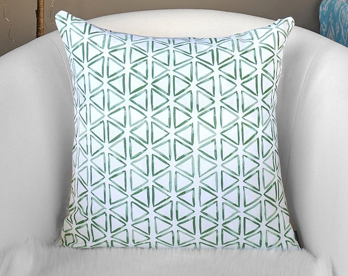 Green Triangles Pillow Cover