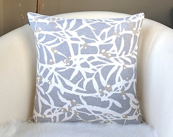 Gray Branches Leaves Pillow Cover